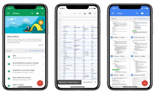 Google Docs, Slides и Sheets вече с поддръжка за iPhone X