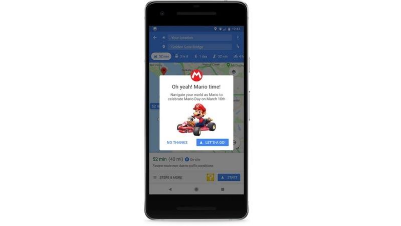 Mario Kart идва в Google Maps
