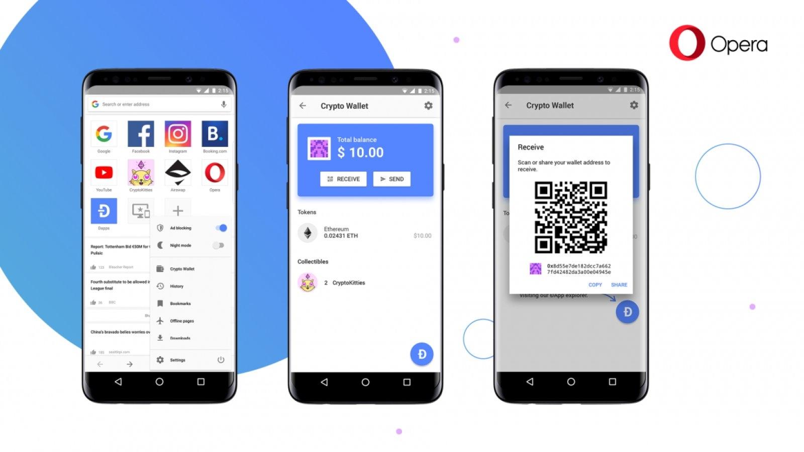 Opera вгражда портфейл за криптовалути в браузера си за Android